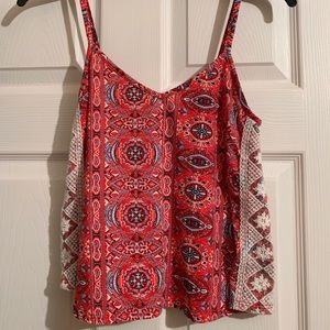 Spaghetti strap tank with lace detail